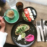 Acai bowl & Avocado, Feta, poached egg on toast with Beetroot Hummus